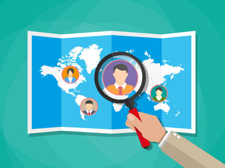 candidates: Human resources management concept, searching professional staff, work, hq, world map with candidates, hand with magnifying glass. vector illustration in flat design on green background