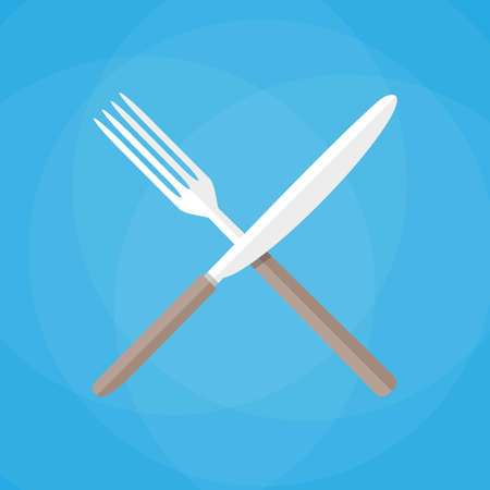 Crossed Knife and fork. vector illustration in flat style on blue background Illustration