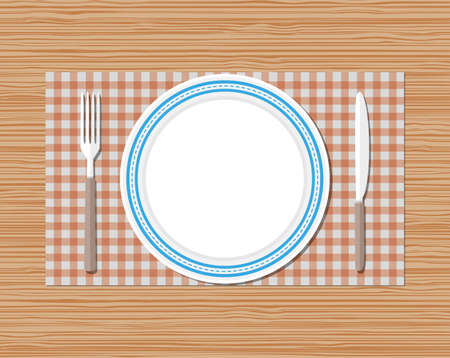 empty plate: Knife, fork and empty plate on red checked cloth on wooden desk. vector illustration in flat style Illustration