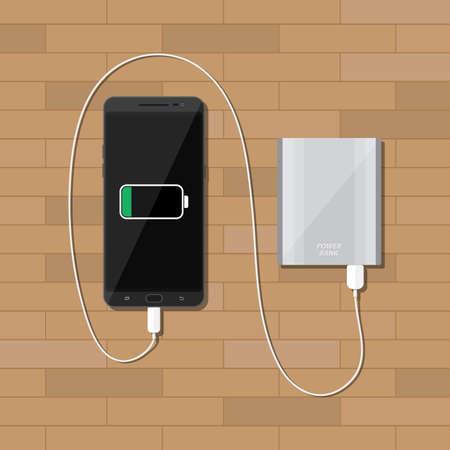 Plata cargar un teléfono inteligente negro en escritorio de madera powerbank. ilustración vectorial en estilo plano