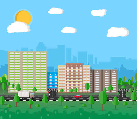 residental: Modern summer City View. Cityscape with office and residental buildings, trees, road with car, truck, blue background with clouds and sun. vector illustration in flat style