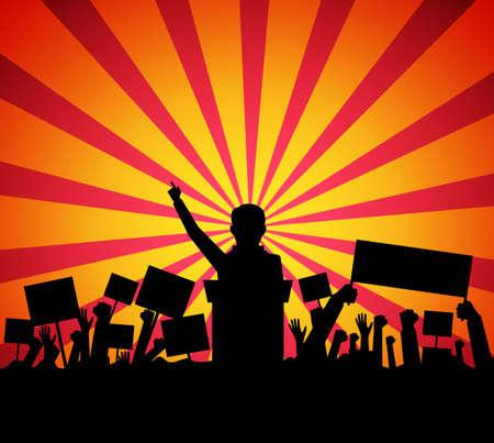 public speaker: Public speaker politician on the podium in front of a crowd silhouette. vector illustration Illustration