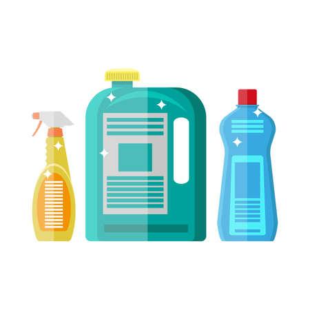 posicionamiento de marca: Hogar de limpieza química. botellas de plástico, diseño de contenedores limpieza del hogar. ilustración vectorial en estilo plano aislado en blanco