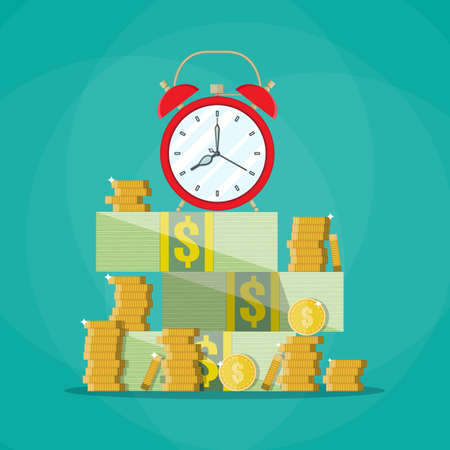 big timer: Red alarm clock in a pile of stacked dollar bills and coin. Time is money concept. vector illustration in flat style on green background