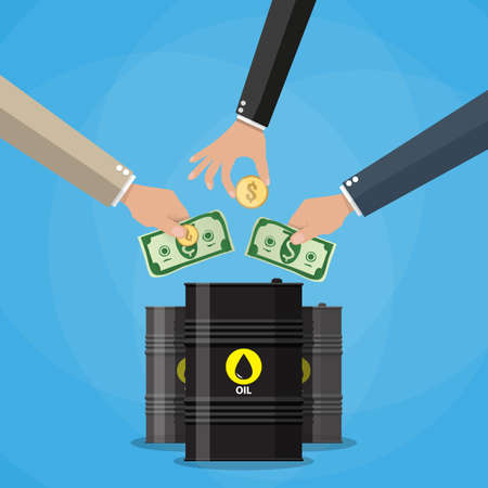 picking up: Businessman hand picking up gold coin and dollar cash into oil barrel, Oil investment concept. vector illustration in flat style on blue background Illustration