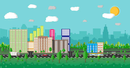residental: Modern summer City View. Cityscape with office and residental buildings, trees, road with bus, car, truck, blue background with clouds and sun. vector illustration in flat style