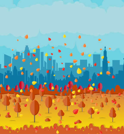 residental: Autumn cityscape with park alley, office and residental buildings, falling leaves. sky. vector illustration Illustration