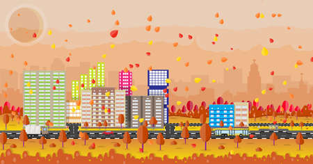 walkway: Beautiful autumn city with park alley, office and residental buildings, roads, trees. car. truck. bus, falling leaves. sky and sun. vector illustration
