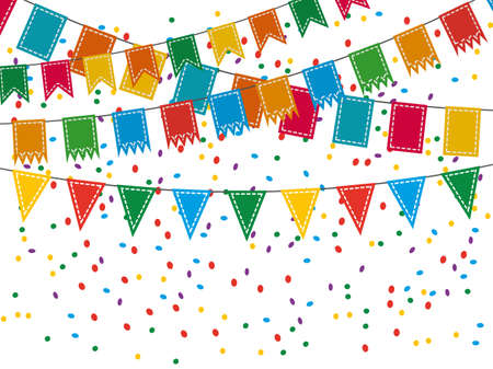 pennant bunting: Colorful pennant bunting collection with stitch lines and confetti isolated on white backgound in flat design. vector illustration