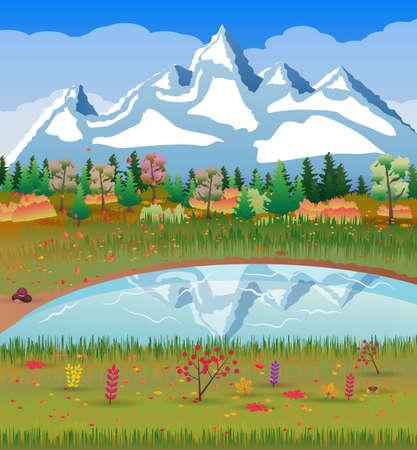 森林、湖、山々 の秋の自然の風景。ベクトル図