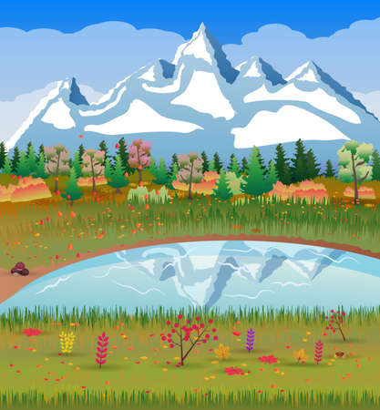 Autumn nature landscape with forest, lake and mountains. vector illustration Illustration