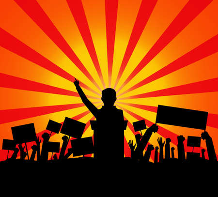 Public speaker politician on the podium in front of a crowd silhouette. vector illustration Illustration