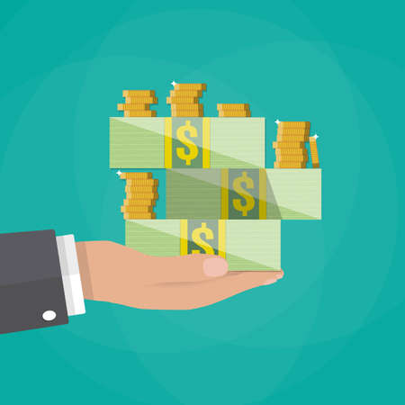 Cartoon businessman hand holding stacks of cash and coins. vector illustration on green background in flat design