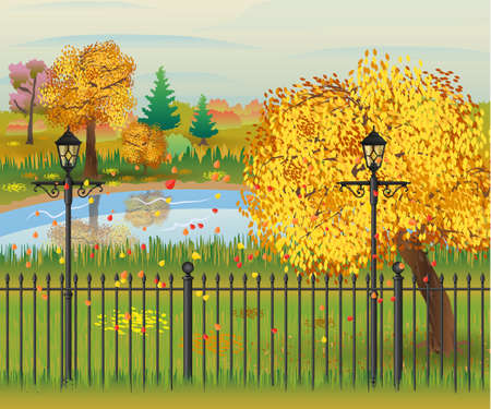 tranquil scene on urban scene: landscape of autumn city Park. iron fence and street lamps. forest and pond clouds. vector illustration