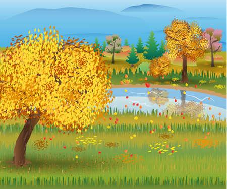 森と湖の秋の自然の風景。ベクトル図