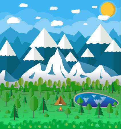 mountains and sky: Summer Campsite with a campfire, Lake, Forest, Mountains, Sky, clouds, sun. travel and vacation concept. vector illustration in flat design