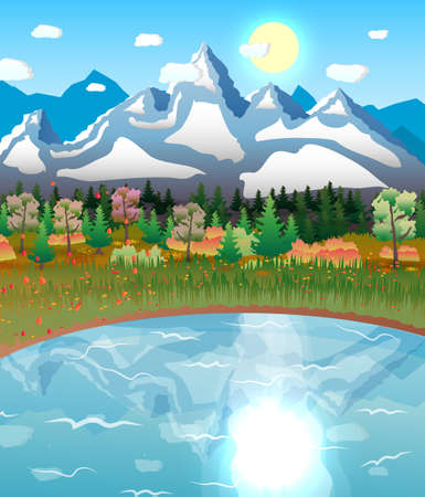 nature landscape with forest, lake and mountains sun. vector illustration