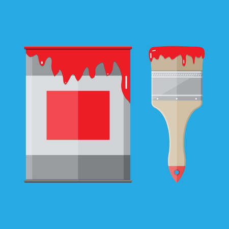 paint tin: Metal tin can with red paint and paintbrush. vector illistration in flat style on blue background Illustration