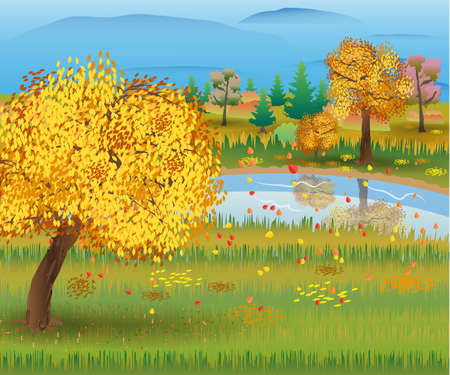Autumn nature landscape with forest and lake. vector illustration Illustration