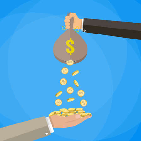 Cartoon businessman hand holding money bag and losing golden coins that poured out from a hole in the bag, other hand trying to steal fallen money. vector illustration in flat style, blue background
