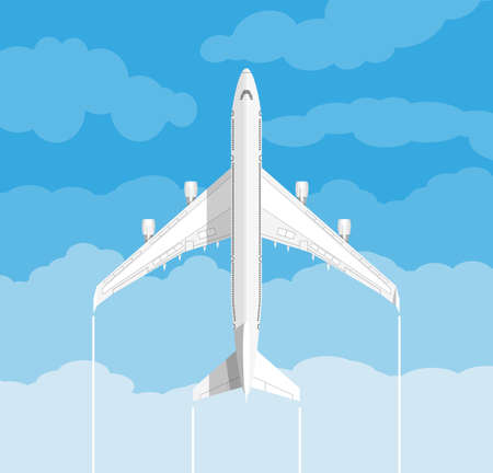 picture of a white civilian plane with clouds. vector illustration in flat design. travel concept Ilustrace