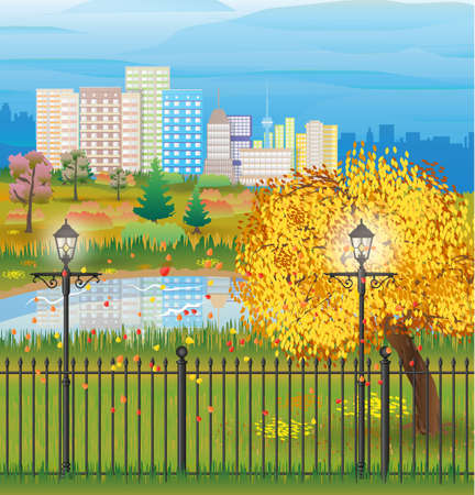 tranquil scene on urban scene: landscape of autumn city Park. iron fence and street lamps. forest and pond clouds. cityscape. vector illustration