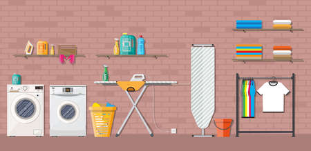 washing powder: Laundry room with washing machine, ironing board, clothes rack, household chemistry cleaning, washing powder and basket. vector illustration in flat style Illustration