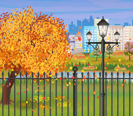 fence park: landscape of autumn city Park. iron fence and street lamps. forest and pond clouds. cityscape. vector illustration