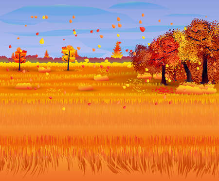 Autumn nature landscape with forest and field. vector illustration Illustration