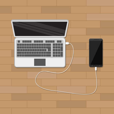 plugged: mobile phone plugged and charging from laptop usb port. vector illustration in flat style. wooden background