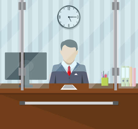 teller behind the window. concept of people service and payment. vector illustration in flat style Vetores
