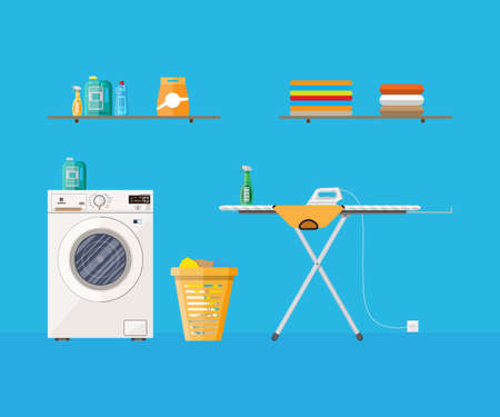 Laundry room with washing machine, ironing board, clothes rack, household chemistry cleaning, washing powder and basket. vector illustration in flat style Illustration