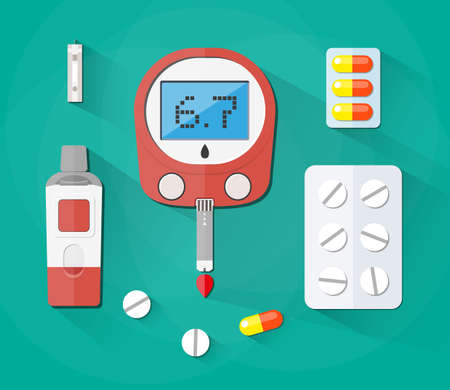 hyperglycemia: Blood Glucose Test, test strip and pills, Diabetes set. vector illustration in flat style on green background