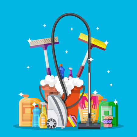 Cleaning set. MOP, sponge, bucket, cleaning products in bottle for floor and glass, rubber gloves, vacuum cleaner. vector illustration in flat design on blue background