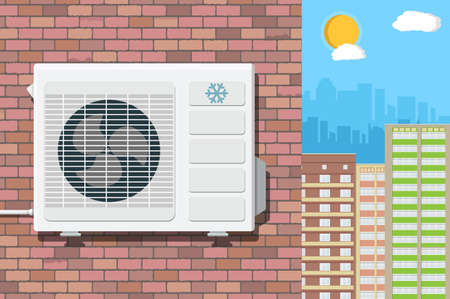 Air conditioning external unit on the wall of red brick building. cityscape. vector illustration in flat style