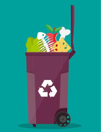 food waste garbage bin container full of junk food. salad, fishbone, bone, apple, cheese. vector illustration in flat style Ilustração