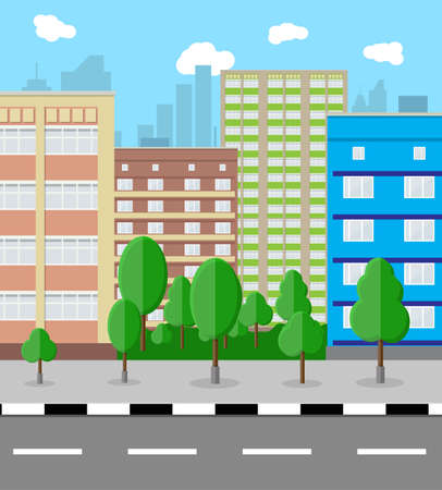 residental: Modern City View. Cityscape with office and residental buildings, trees, road, blue background with clouds. vector illustration in flat style Illustration