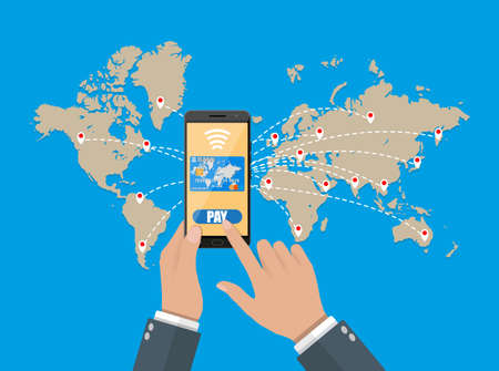 technology transaction: smart phone with credit card on global map background. mobile payments concept. vector illustration in flat style