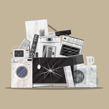 E-Abfällen von Elektro- und Elektronikgeräten Haufen. Computer und Heimelektronikschrott-Stack. Müll, Recycling, Ökologie. Vektor-Illustration in flachen Stil Vektorgrafik