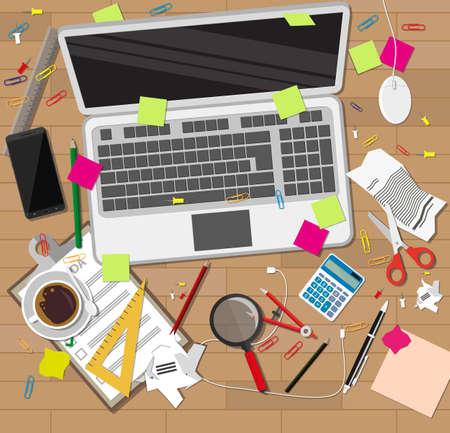 Kreative Chaos auf Schreibtisch aus Holz. Chaos auf dem Tisch. Vektor-Illustration in flachen Stil