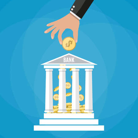 depositing: Hand putting golden coin into bank building. Depositing money in bank account. vector illustration in flat style on blue background