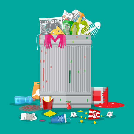 Steel garbage bin full of trash. Overflowing garbage, food, rotten fruit, papers, plastic containers and gloves, paint and glass. vector illustration in flat style Illusztráció