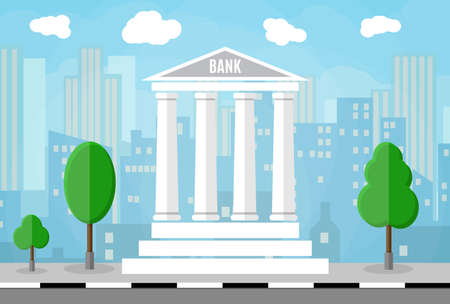 Bank building with trees and city skylines behind. vector illustration in flat style