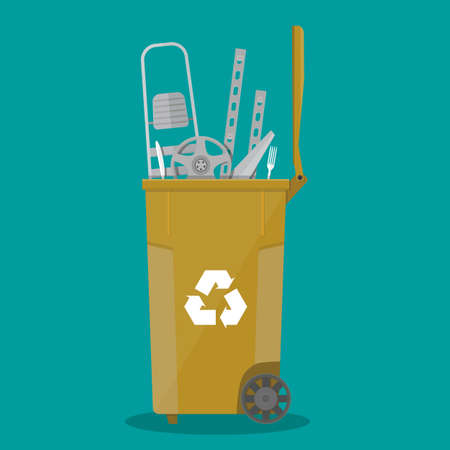 ecological damage: trash recycle bin container for garbage full of metal and steel things. Bin for metal. Vector illustration in flat design Illustration