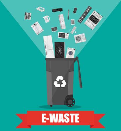 E-Müll Papierkorb Container mit alten EDV-Anlagen, Handys, Laptop, Maus, Tastatur. Vektor-Illustration in flachen Stil Vektorgrafik