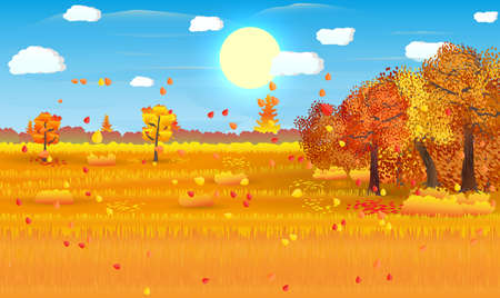 Autumn nature landscape with forest and field. vector illustration Иллюстрация