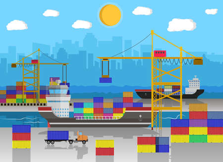 sea freight: River ocean sea freight shipping by water. crane unloads cargo ship. containet truck. Blue sky clouds and cityscape. sea port logistics and delivery. vector illustration in flat style