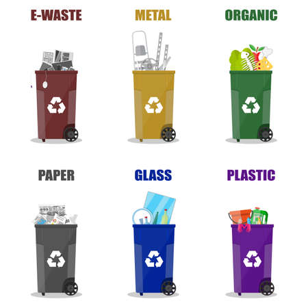 segregation: Diffrent waste recycling categories. Garbage bins in differend colors. Metal, glass, e-waste, plastic, paper, organic. vector illustration in flat style isolated on white