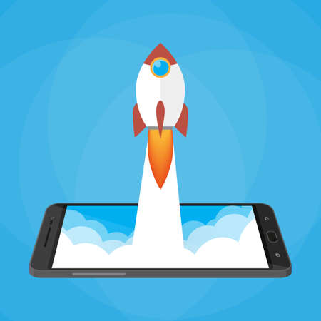Rocket launched from the phone. start up idea. mobile development and technology. vector illustration in flat style on blue