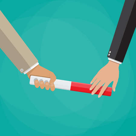 Üzletember halad stafétabotot a kezében egy másik üzletember. együttműködés, a csapatmunka, a vállalkozás átadása. vektor, Ábra lapos stílus és zöld háttér